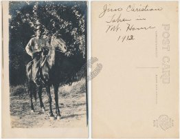 Man Riding Horse, Mt Mount Home, ID Idaho - Early 1900's Real Photo RP Postcard