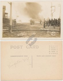 Railroad, Railway Fire, Kingston, NY - Early 1900's Real Photo RP Postcard