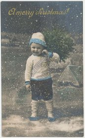 Boy in Winter Outfit, Snow, Christmas Xmas - Early 1900's RP Photo Postcard