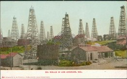 Oil Wells, Los Angeles, CA California  Pre-1907 Postcard