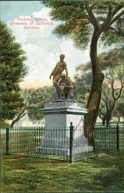 Football Statue, University of California, Berkley, CA - Early 1900's Postcard