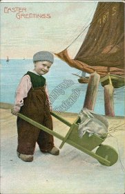 Dutch Boy, Bunny Rabbits in Wheelbarrow - Early 1900's Easter Postcard