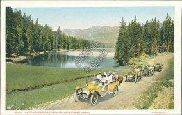 Cars, Automobile Parties, Yellowstone National Park - Early 1900's Postcard