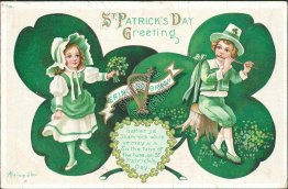 Girl, Boy Playing Flute - St. Patrick's Day Aleinmuller Signed Postcard