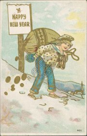 Boy Carrying Sack of Gold Coins - Early 1900's New Year Embossed Postcard