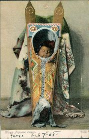 Kiowa Papoose - Native American Child Asleep Pre-1907 Postcard