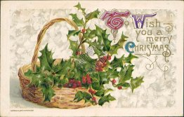 Floral Basket, Christmas Xmas - 1911 JOHN WINSCH Embossed Postcard