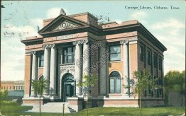 Carnegie Library, Celburne, TX Texas - Early 1900's Postcard