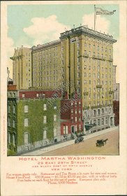 Hotel Martha Washington, 29th St., 5th Ave., New York City, NY Early Postcard