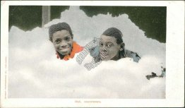 Discovered - 2 Boys in Heap of Cotton, Black Americana Pre-1907 Postcard