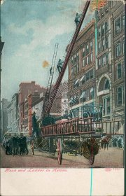 Fire Fighters, Hook and Ladder in Action - Early 1900's Firefighting Postcard