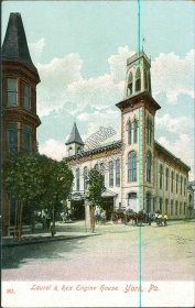 Laurel & Rex Fire Engine House, York, PA Pennsylvania - Early 1900's Postcard