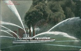 Fire Boat, Portland, OR Oregon - Early 1900's Postcard