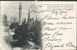Mt. Vernon Place, Baltimore, MD Maryland - 1906 Postcard