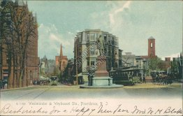 Trolley, Westminster & Weybosset St., Providence, RI 1906 ROTOGRAPH Postcard