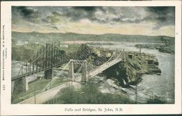 Falls and Bridge, St. John, New Brunswick NB, Canada 1905 Postcard