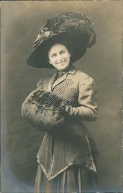 Woman w/ Fancy Hat, Hand Muff Warmer - Early 1900's Real Photo RP Postcard