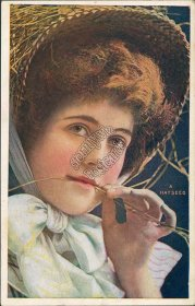 Close Up of Woman's Face - A Hayseed - Early 1900's Western Postcard
