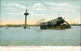 Wreck of US Navy Battleship USS Maine, Havana, CUBA - Early 1900's Postcard