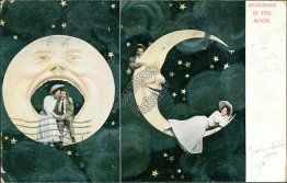 Spooning the Moon - Early 1900's Lovers Couple Postcard