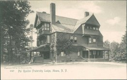 Psi Upsilon Fraternity Lodge, Ithaca, NY New York Pre-1907 ROTOGRAPH Postcard