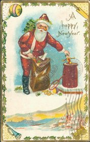 Santa Stuffing Toys in Chimney - Early 1900's New Year Embossed Postcard