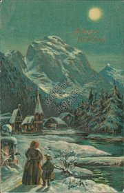 Winter Snow Scene - Early 1900's New Year's Day Embossed Postcard