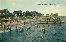 Bathing at Hoyt's, Cosey Beach, CT Connecticut - Early 1900's Postcard