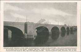 Stone Arch Bridge, Connecticut River, Hartford, CT - Early 1900's Postcard