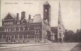 Post Office, Keokuk, IA Iowa - Early 1900's Postcard