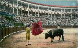 Bull Fighting, Pase de Muleta - Early 1900's Postcard