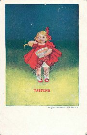 Girl in Red Outfit, Tasting, 1906 Ullman Mfg. Co., Albion ID Idaho 1908 Postcard