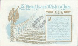 Golden Stairway, Happy New Year, New Year's Day 1909 Postcard