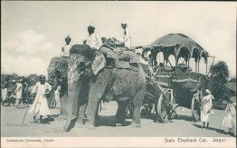 State Elephant Car, Jaipur, India - Early 1900's Postcard