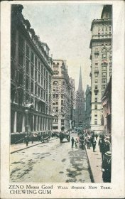 Zeno Chewing Gum, Wall St., New York City, NY Pre-1907 Postcard
