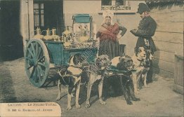 Dogs, Milk Cart, Laitiere - Early 1900's French Postcard