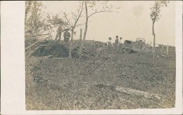 Farm, Country Scene, Horse Wagon, Trees Damaged - Early 1900's RP Photo Postcard