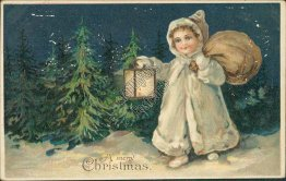 Girl, Snow Scene, S. Langsdorf Christmas XMAS Early 1900's Embossed Postcard