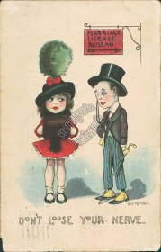 Boy, Girl Dressed Up, Marriage License, EB Kemble Artist Signed Postcard