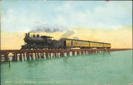 Train Crossing Galveston Bay, TX Texas - Early 1900's Postcard
