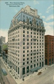 Emerson Hotel, Calvert St., Baltimore, MD Maryland - Early 1900's Postcard