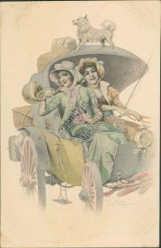 2 Women in Car, Dog, R.R. M. Munk Vienne Artist Signed - Early 1900's Postcard