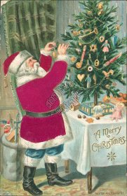 Silk Red Robe Santa, E. Sander, Christmas XMAS Ebossed 1910 Postcard