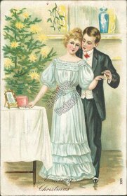 Man Placing Ring on Woman's Finger, 1908 Embossed Christmas XMAS Postcard