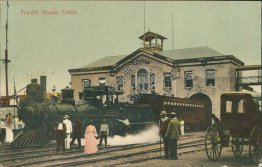 Train, R.R., Freight House, Colon, Panama - Early 1900's Postcard