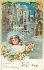 Snow Scene, Angel - Early 1900's Embossed Christmas XMAS Postcard