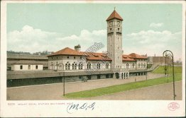 Mount Royal Station, Baltimore, MD Maryland Pre-1907 Postcard