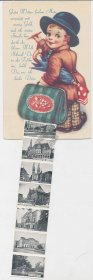 Boy with Suitcase, 10 Views of Bremen, Germany Mechanical Foldout Postcard