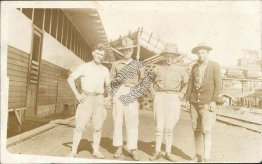 4 US Military Men Posing, Marines ? - Early 1900's Real Photo RP Postcard