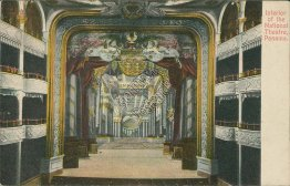 Interior of National Theatre, Panama City, Panama - Early 1900's Postcard